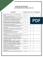 Lista de Verificação Check List Trabalho Em Altura NR 35
