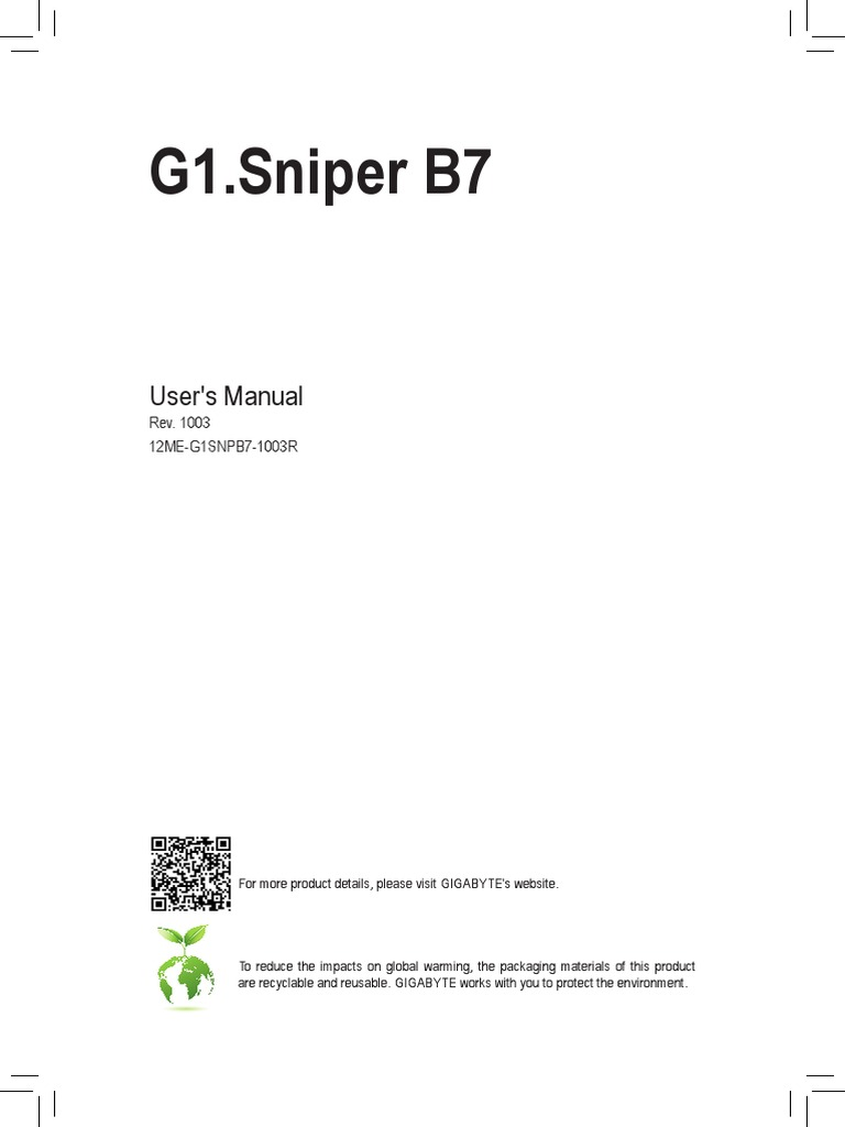 Mb Manual g1 Sniper-b7 e | Bios | Usb