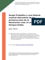 Sergei Prokofiev y Una Historia Musical Alternativa