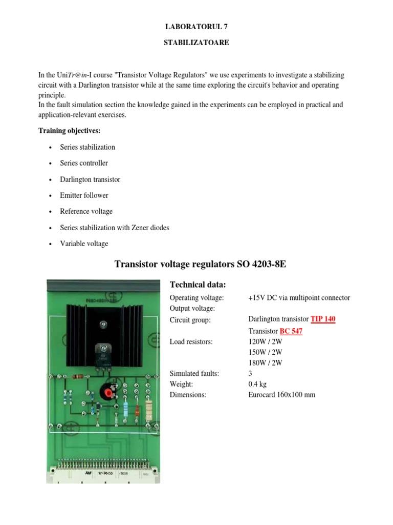 Lab 7 Stabilizatoare Amplitude Power Supply Transistor Voltage Regulator Circuit