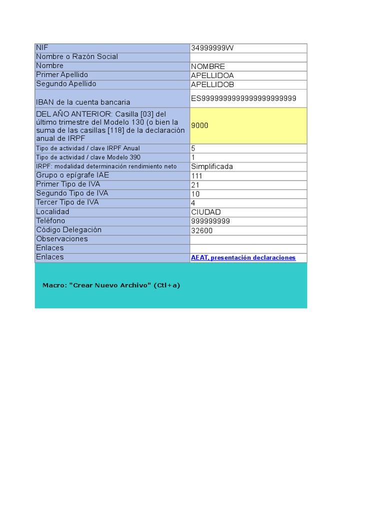 Plantilla de Excel Para La Gestion de Impuestos Para Autonomos