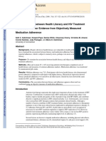 Association Between Health Literacy and HIV Treatment Adherence 2008