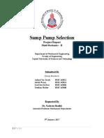 Sump Pump Selection Final Report