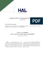 Article Capital Social Et DA Veloppement 2011