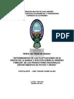 ESTUDIO DEL IMPACTO DEL PRECIO SOBRE LA PRODUCCION DE QUINUA
