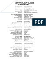 2017 Golden Globes prediction sheets