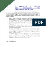 Comunicado Respecto a Títulos Profesionales Otorgados Por Universidad Distinta Al Bachiller