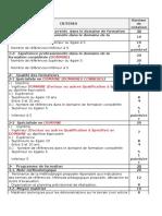 Criteres Evaluation