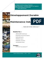 Le Developpement Durable & La Maintenance Industrielle