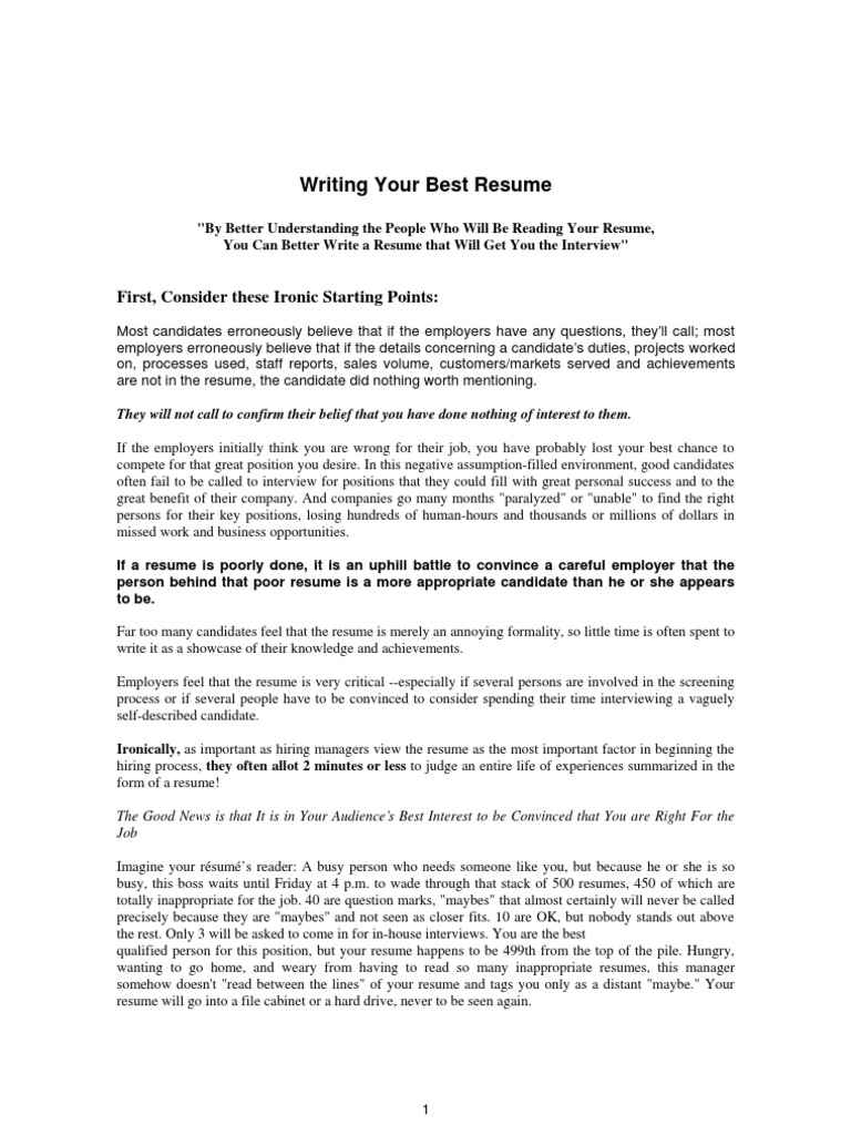 resume amp cover letter writing your best resume résumé sales
