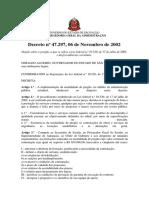Decreto Estadual Nº 47.297, De