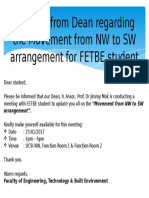 Memo Updates From Dean Regarding the Movement From NW to SW Arrangement for FETBE Student