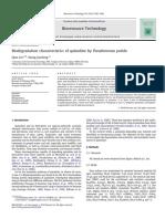 Biodegradation Characteristics of Quinoline by Pseudomonas Putida