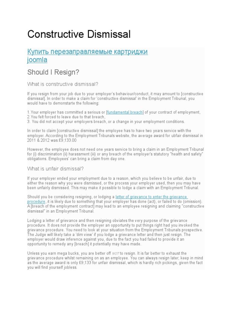 constructive dismissal resignation letter examples images letter