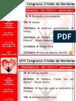 Programação XXXI Congresso Cristão