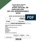 Registro Oficial de Evalucion 2016 Inicial