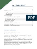 CRM Service Sales Notes