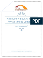Valuation of Equity Share of Private Limited Companies