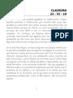 Discurso del Acto de Clausura del curso 2009-2010