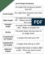 angle and triangle vocabulary
