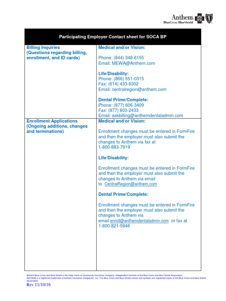 SOCA MEWA Participating Employer Contact Sheet pdf | Blue