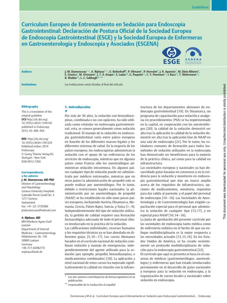Guias Europeas en Sedacion Endoscopica