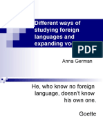 Different Ways of Studying Foreign Languages and Expanding Vocabulary German Anna