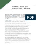 El Culto Romano a Mitra y El Origen de La Navidad Cristiana