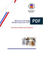 Effectiveness of the Budget Allocation of the Government by DBM
