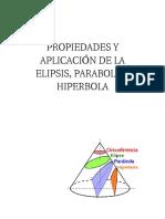 propiedades aplicacion de la elipsis, parabola e hiperbola