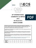 UK Chemistry Olympiad Round 1 Mark Scheme 2016