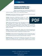 Diccionario Diciembre 2016 - Recubrimientos en Teflón