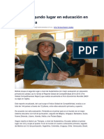 Bolivia Segundo Lugar en Educación en Sudamérica