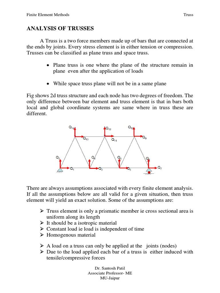 Analysis of Trusses | Truss | Stress (Mechanics)