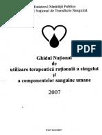 Ghidul National de Utilizare Terapeutica Rationala a Sangelui Si a Componentelor Sanguine Umane