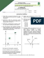 1ª Trabalho 3º B e D - Geometria Analítica