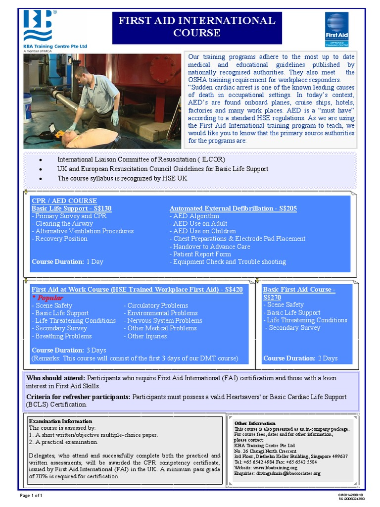 142 First Aid International Course Flyer Cardiopulmonary