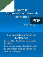 EOE Chapitre III L'Organisation Interne de l'Entreprise