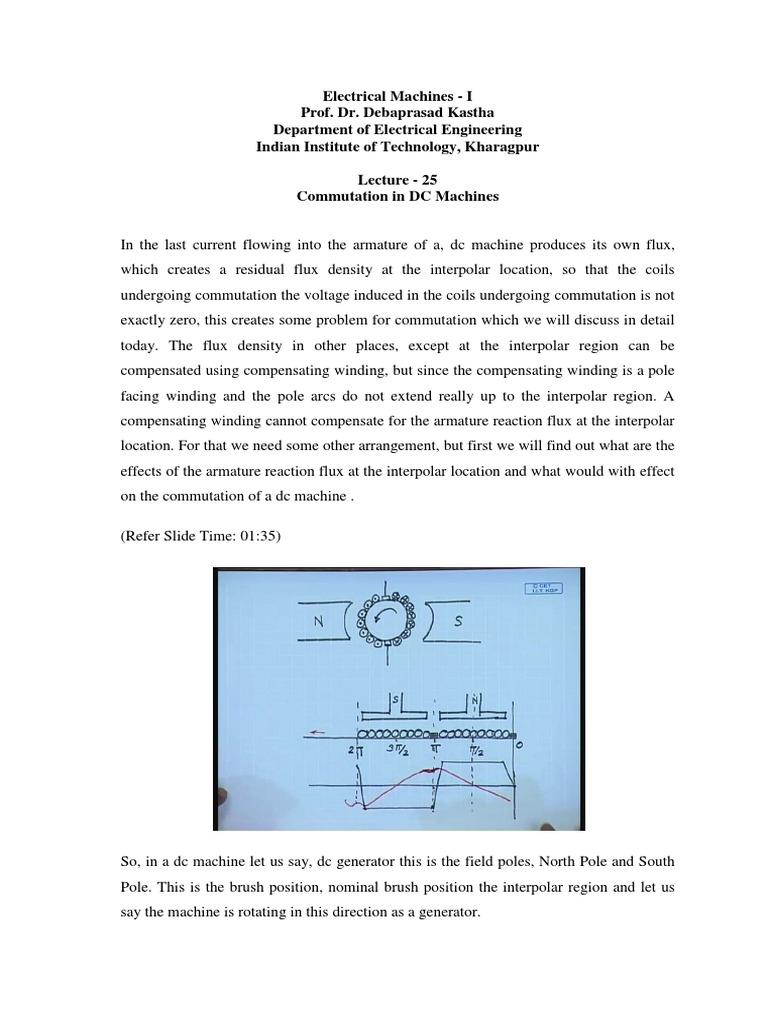 Commutation in DC Machine or Commutation in DC Generator or Motor