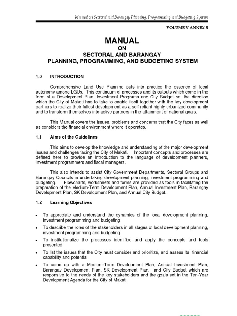 Manual on Sectoral and Barangay Planning, Programming, and Budgeting ...