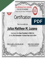 Certification for Awards