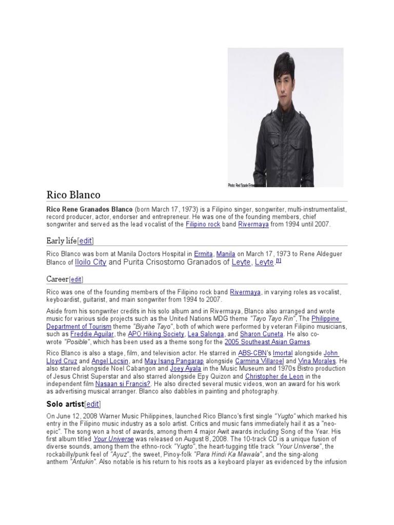 Rico Blanco dating gawi album gratis nedlasting beste Dating Sites Puerto Rico