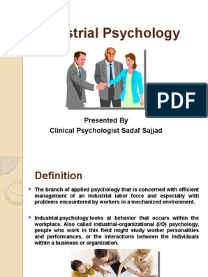 Industrial Psychology Ppt Industrial And Organizational Psychology Goal