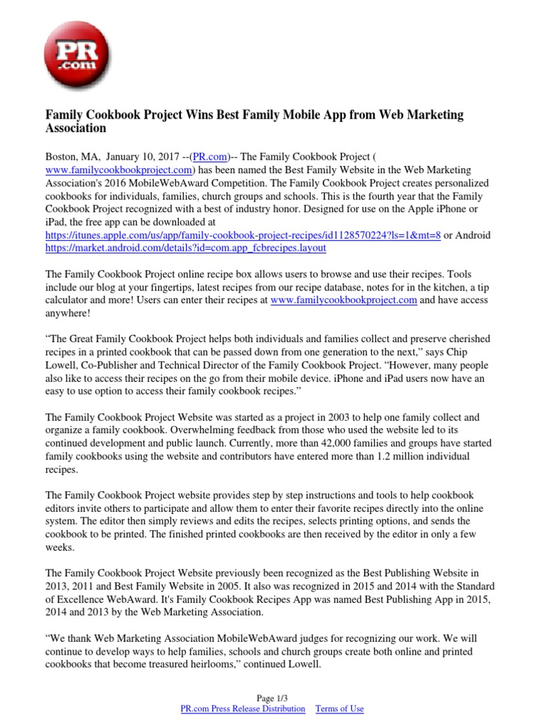 family cookbook project wins best family mobile app from web