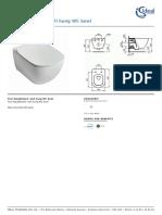 IdealStandard Tesi Aquablade Wall Hung Wc Bowl T3545