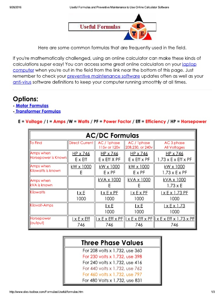 useful formulas and preventive maintenance to use online calculatorpreventive maintenance to use online calculator · useful electrical formulas