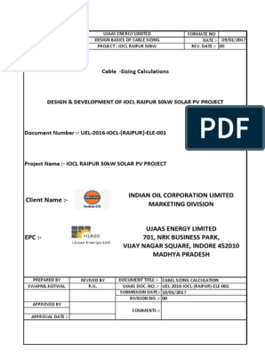Iocl Raipur 50kw Cabel Document | Cable | Power Inverter