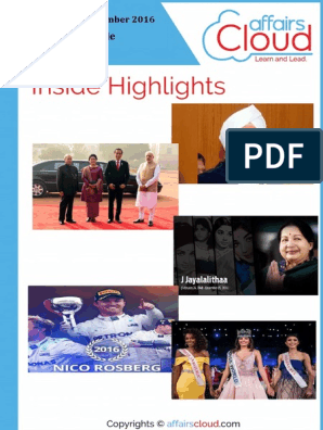 Current Affairs Study PDF - December 2016 by AffairsCloud | Point Of