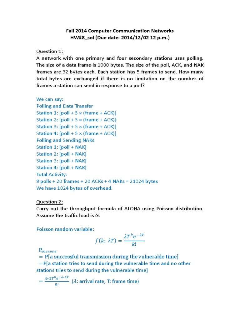 HW8_sol | Transmission Control Protocol | Communications