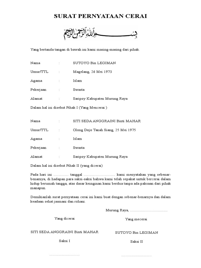 Contoh Surat Cerai